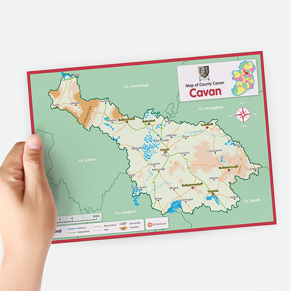 Map Of Ireland Cavan.Cavan A4 County Map 4schools Ie