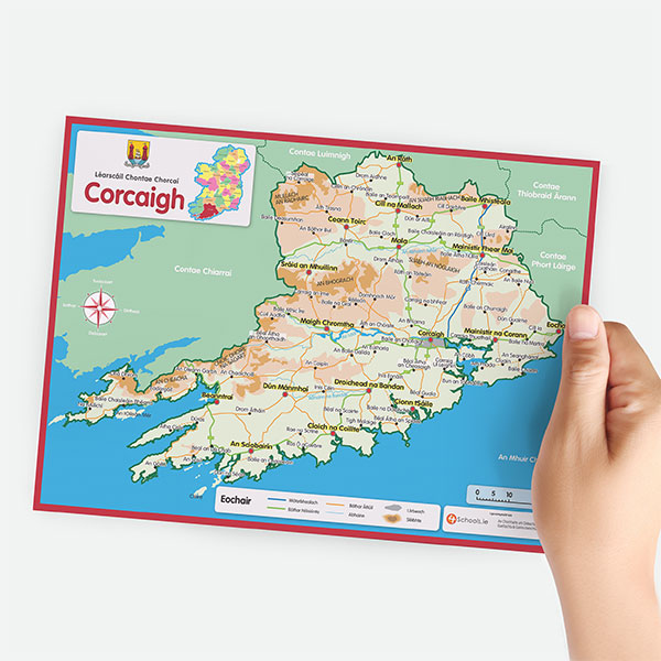 Map Of Ireland As Gaeilge.Maps And Charts 4schools Ie